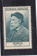 FRANCE 1955 CELEBRITES PIERRE AUGUSTE RENOIR 50F + 15F BLEU VERT N° 1032 ** - Nuevos