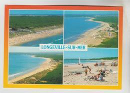 2 CPM LONGEVILLE SUR MER (Vendée) - 4 Vues : Plages, 4 Vues : Camping Des Dunes - France