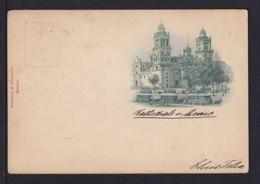 """1899 - 3 C. Bild Ganzsache """"Pferdestraßenbahn In Mexico-City"""" - Gebraucht Nach Hamburg - Mexiko"""