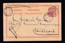 1895 - 10 Pf. DR-Ganzsachen Ab Swakopmund Via WALFISHBAY Nach Stuttgart - Colonie: Afrique Sud-Occidentale