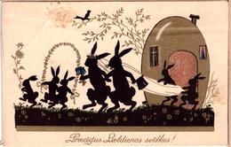 Bunny's Rabbits-Easter. Rabbit Wedding-Latvia-Lettland-Vintage-Postcard 1930s - Animali