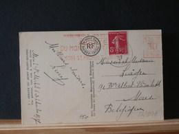 82/807A CPFRANCE    1937  POUR LA BELG.  FLAMME ROUGE MONT ST. MICHEL - Marcofilie (Brieven)