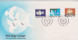 Singapore 1986 International Year Of Peace FDC - Singapore (1959-...)