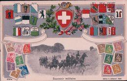 Armée Suisse, Souvenir Militaire, Attelages, Timbres Et Armoiries Suisse, Litho Gaufrée (13) Pli D'angle - Manoeuvres