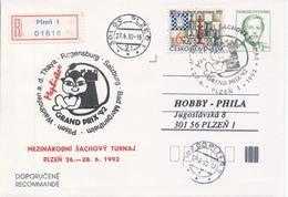 J0884 - Tchécoslovaquie / Entiers Postaux (1992) V. Havel; Plzen 1: Tournoi Internat. D'échecs Mephisto GRAND PRIX '92 - Echecs