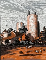 Dép. De La VIENNE - LES TOURS DE LENET  - BOIS ORIGINAUX GRAVES Par JEHAN BERJONNEAU EN 1932 - Engravings