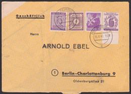 ZERBST 16.8.46 Brief Mit 6 Pf. Westsachsen, 6 Pf. Berliner Bär, SBZ 142 U.a., Nach Charlottenburg, Auf Landkartenpapier - Zona Soviética