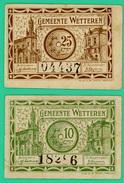 10 Et 25 Centimes - Nécessité - Belgique - Gemeente Wetteren - N° 18286 Et 04437 - 1918 - TTB - - [ 2] 1831-...: Belg. Königreich