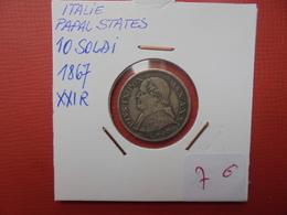 VATICAN 10 SOLDI 1867 XXI  ARGENT - Vatican