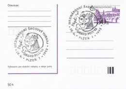 J0885 - Tschechoslowakei (1992) Plzen 1: Internationales Schachturnier Mephisto GRAND PRIX '92 (Gedenkstempel) - Scacchi