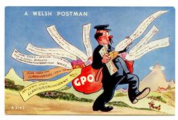 A Welsh Postman Old Unused Postcard Valentine's B190301 - Humour