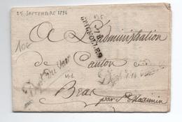 1796 - LETTRE En FRANCHISE Du DEPARTEMENT DU VAR Avec MP De BRIGNOLES (VAR) - Postmark Collection (Covers)