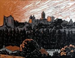 Dép. De La VIENNE - LA VILLE HAUTE DE CHAUVIGNY - BOIS ORIGINAUX GRAVES Par JEHAN BERJONNEAU EN 1932 - Engravings
