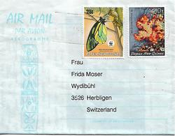 PAPUA NEW GUINEA 1988 Aerogramme Sent To Herbligen 2 Stamps AEROGRAMME USED - Papouasie-Nouvelle-Guinée