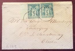 S139  Sage Paire 5c N Sous B Obl. Illisible - 1876-1878 Sage (Typ I)