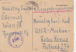 PRISONER OF WAR CORRESPONDENCE, WW2, DENT TO CAMP 234 IN RUSSIA, CENSORED 496, POSTCARD, 1946, AUSTRIA - 1945-60 Briefe U. Dokumente