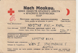 PRISONER OF WAR CORRESPONDENCE, WW2, SENT TO CAMP 2345 IN RUSSIA, RED CROSS AND RED CRESCENT POSTCARD, 1947, AUSTRIA - 1945-60 Cartas