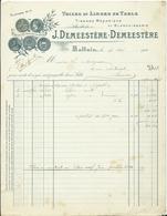 FACTURE - TOILES ET LINGE DE TABLE - J. DEMEESTERE - HALLUIN - Francia