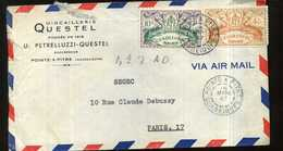 GUADELOUPE   LETTRE  PUB QUICAILLERIE QUESTEL VIA AIR MAIL 1946 POINT A PITRE    A  PARIS  AFFRANCHISSEMENT  F ET 4,50F - France