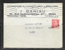 LOT 1903004 - N° 716 SUR LETTRE DE TOURS OBLITEREE CACHET LINEAIRE TOURS GARE - Postmark Collection (Covers)