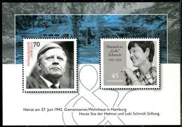 BRD - Mi Block 83 = 3448 + 3429 - ** Postfrisch (A) - 45-70C     Hannelore Und Helmut Schmidt, Ausgabe 01.03.2019 - [7] West-Duitsland