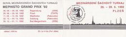 J0890 - Tchécoslovaquie (1992) Livret De Timbres: Tournoi International D'échecs Mephisto GRAND PRIX '92 - Echecs