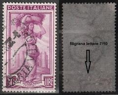 Filigrana Lettere Bassa 7/10 - 30 Lire Ruota 1° DB Italia Al Lavoro - 6. 1946-.. Repubblica