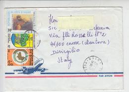 COSTA D'AVORIO 1990 -  Yvert 809-814-816  - Via Aere Ato Italy - Costa D'Avorio (1960-...)