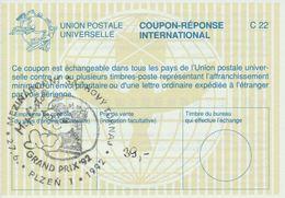 J0892 - Tchécoslovaquie (1992) CRI (C22) Coupon-reponse International; Plzen 1: Tournoi D'échecs Mephisto GRAND PRIX '92 - Echecs