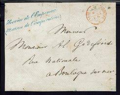 """FR - Devant D'enveloppe """"Service De L'Empereur (Maison De L'Impératrice)""""de Paris 6 Février 1855 Pour Boulogne Sur Mer - - Marcophilie (Lettres)"""