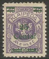 Klaipeda (Memel) - 1923 Arms Surcharge 15c/40m MH *    Mi 212 - Memel (1920-1924)