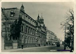 COLMAR Ancienne Poste Avec Tram  ( Légende Barrée)  Belle Photo Glacée Hoffmann 1949 - Colmar