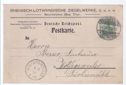 99999,370 -  Rheinisch Lothringische Ziegelwerke - Neunkirchen Saar- Postkarte Nach Wolfersweiler 1904 - Poste Privée