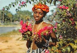 Sierra Leone - Jeune Fille Aux Fleurs - Publicité Médicament Plasmarine - Laboratoires La Biomarine à Dieppe - Timbre - Sierra Leone