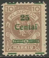 Klaipeda (Memel) - 1923 Arms Surcharge 25c/10m MH *    Mi 214 (overprint Shift) - Memel (1920-1924)