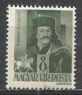 Hungary 1943. Scott #607 (M) Francis II Ràkòczy * - Hongrie