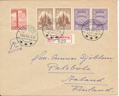 Denmark Registered Cover Vordingborg 12-12-1953 Sent To Finland Christmas Seals On The Backside Of The Cover - Danemark