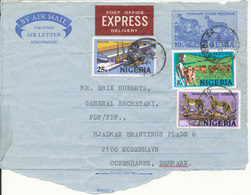 Nigeria Uprated Frontpage Of An Aerogramme Sent To Denmark 3-7-1976 (only The Frontpage) - Nigeria (1961-...)