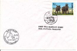 Thailand Cover With Elephant Stamp FIRST THAI ELEPHANT JUMBO MAIL PATTAYA THAILAND Thailand In Denmark 26-10-1980 - Filatelistische Tentoonstellingen