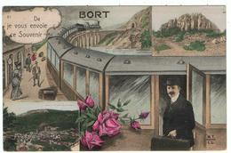 """Bort / """" De Bort Je Vous Envoie Ce Souvenir """" / Gare, Chemin De Fer, Roses ... - Autres Communes"""