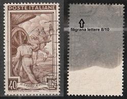 Filigrana Lettere Alta 8/10 - 40 Lire Ruota 1° SA Italia Al Lavoro - 6. 1946-.. Repubblica