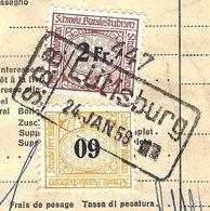 Schweiz Suisse: SBB-Frachtbrief CFF Lettre De Voiture FSS Lettera Di Vettura Michel-No. 77+82 O LÜTISBURG 24 JAN. 58 - Chemins De Fer