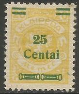 Klaipeda (Memel) - 1923 Arms Surcharge 25c/20m MH *    Mi 215 - Memel (1920-1924)