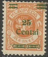 Klaipeda (Memel) - 1923 Arms Surcharge 25c/25m MH *    Mi 216 - Memel (1920-1924)