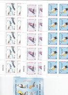 JORDAN 2002, Birds 3 Stamps Compl.set X10 Compl.sheets Unfolded + 10 S. Sheet- RARE- Red. Pr. SKRILL PAYMENT ONLY - Jordan