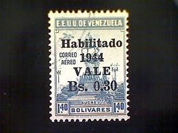 Venezuela, Scott #C198, Used (o), 1944 Air Mail, 1938 Statue Of Sucre Surcharged, .30b On 1.40b - Venezuela