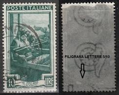 Filigrana Lettere Bassa 5/10 - 10 Lire Ruota 3° DB Italia Al Lavoro - 6. 1946-.. Repubblica