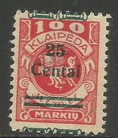 Klaipeda (Memel) - 1923 Arms Surcharge 25c/100m MH *    Mi 219 - Memel (1920-1924)