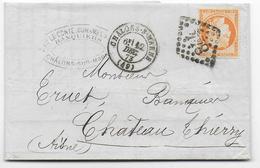 1873 - TYPE SIEGE Sur LETTRE De CHALONS SUR MARNE Avec GC 844 TRES USE => CHATEAU THIERRY - Postmark Collection (Covers)