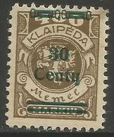 Klaipeda (Memel) - 1923 Arms Surcharge 30c/400m MH *    Mi 228 - Memel (1920-1924)